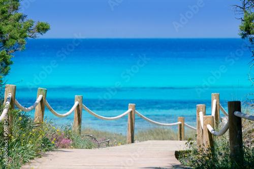 Foto-Leinwand - Illetas illetes beachn turquoise Formentera island (von lunamarina)