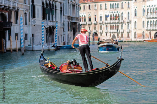 Fotobehang Gondolas Gondolier Venise