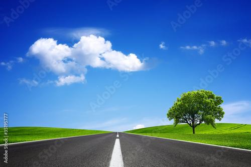 Fotobehang Donkerblauw Empty road