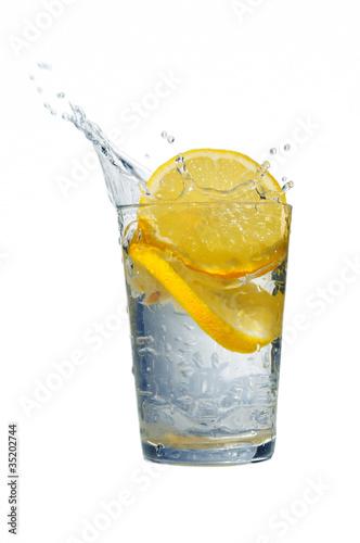 Poster Eclaboussures d eau Lemon and water