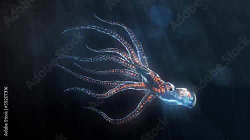 Fotomural deep sea octopus