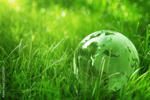 Fototapety, obrazy: Green glass globe in the grass