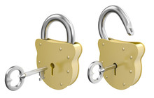 Opened And Closed Padlocks With Keys