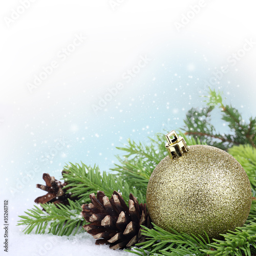 Photo Stands Akt Christmas border with baubles, fir tree branches and pine cones