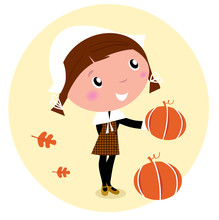 Thanksgiving Day, Harvest - Pilgrim Child With Pumpkin Head.