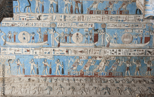 Egypt Egyptian hieroglyphic paintings on a temple wall