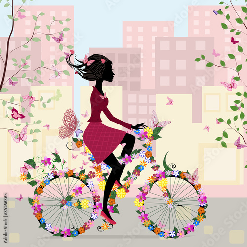 Poster Bloemen vrouw Girl on a bicycle in the city