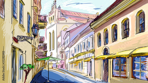 Photo sur Toile Drawn Street cafe old town - illustration