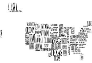 fototapeta mapa Stanów Zjednoczonych napisy