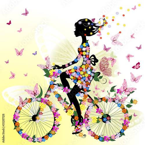 Poster Bloemen vrouw Girl on a bicycle in a romantic