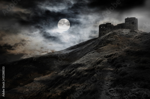 Fotografie, Tablou Night, moon and dark fortress