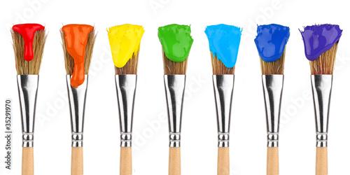 Canvastavla colored paint brushes 2