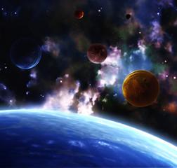 Fototapeta kolorowa mgławica kosmos