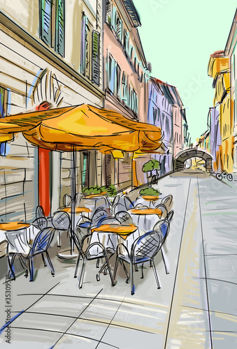 Spoed Foto op Canvas Drawn Street cafe old town - illustration sketch