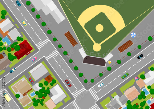 Poster de jardin Route baseball field on the outskirts of