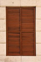 Wooden Window With Shutters