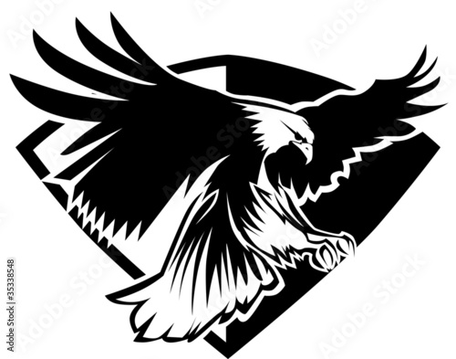 Photo  Eagle Mascot Flying Wings Badge Design