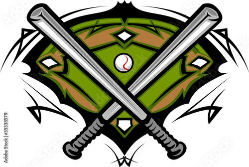 baseball field with softball crossed bats vector image template rh stock adobe com