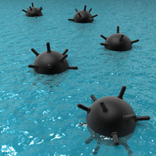 Floating Naval Mines At The Sea.