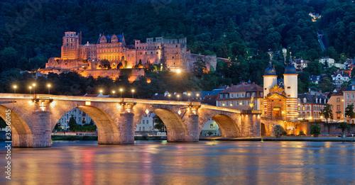 Fotografie, Obraz  Heidelberg Alte Brücke und Schloss