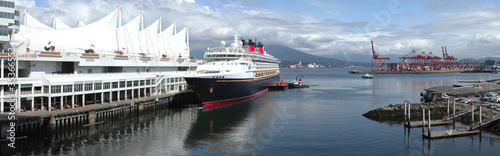 Panoramic view of a cruise ship docked at Canada Place Vancouver