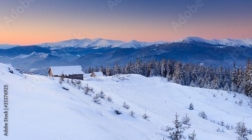 Foto op Aluminium Nachtblauw mountain landscape