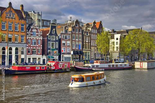 Classical Amsterdam view.  Urban scene. Canvas Print
