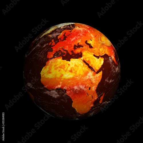 Deurstickers Nasa Planet Earth showing Europe and Africa with Global Warming again