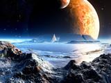 Ruiny kosmicznej areny na tle dwóch księżyców