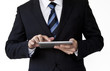 Business man hand holding a touchpad pc / tablet