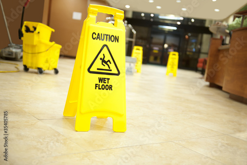 Fotografie, Obraz  caution lobby mop bucket and sign
