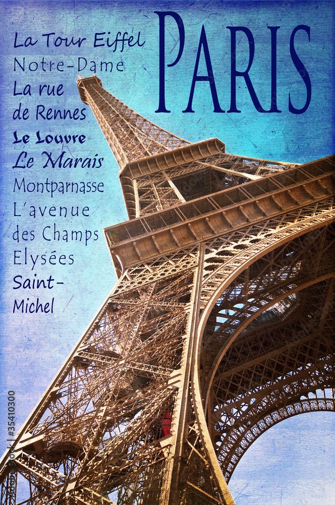 Photo Art Print Paris La Tour Eiffel Vintage Couleur