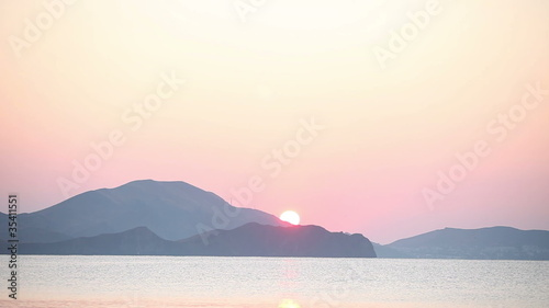 Sunrise at sea beach and mountains - 35411551
