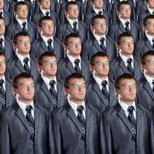 Many Identical Businessmen Clo...