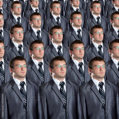 Many identical businessmen clones Wallpaper Mural