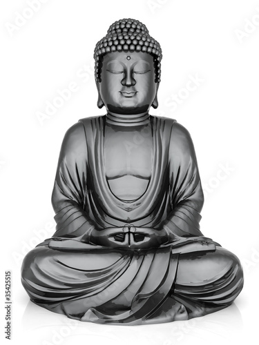 Tuinposter Boeddha image of a gold statue of Buddha and a lotus flower
