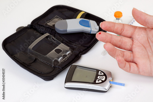 Fotografía  Test de azúcar en sangre