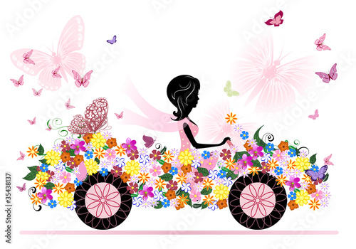 Poster Bloemen vrouw girl on a romantic flower car