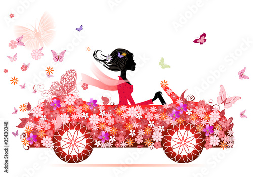 Poster Bloemen vrouw girl on a red flower car