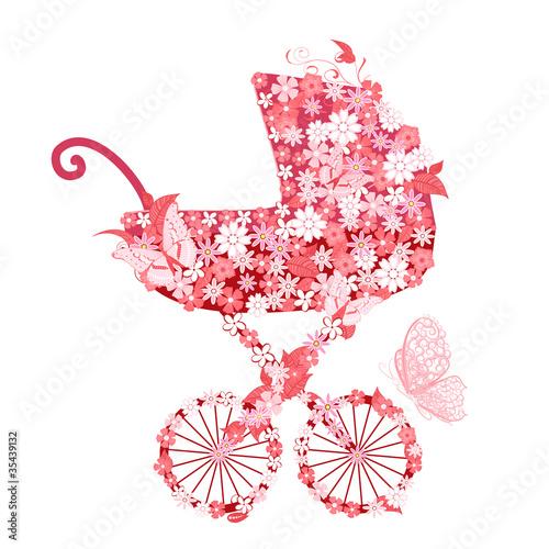 Fotobehang Bloemen vrouw Stroller of flowers for girls