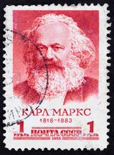 Postal Stamp. Karl Heinrich Marx, 1958