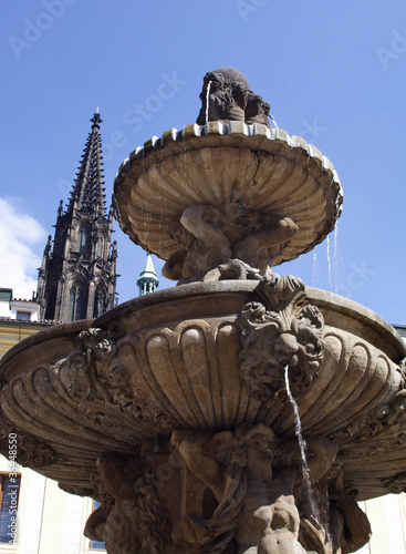 Fotografie, Obraz  faces of Prague-Brunnen in der Prager Burg-
