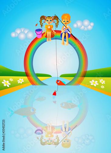 In de dag Regenboog Children on rainbow.