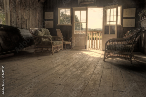 Aluminium Prints Old abandoned buildings Nostalgic retro effect Summer Boat House with glowing sun