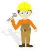 Big headed construction worker