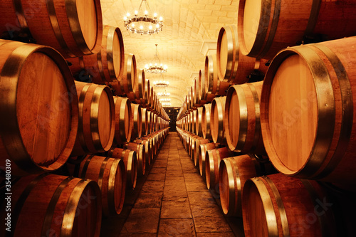 Fototapeta Wine cellar with  barrels