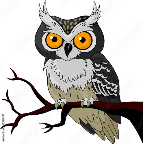 Deurstickers Uilen cartoon Night Owl