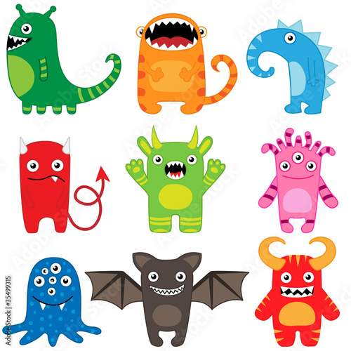 Poster de jardin Creatures Set of different cute funny cartoon monsters