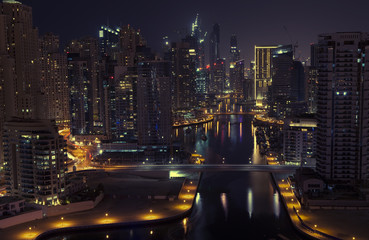 Fototapeta na wymiar Night city. Panoramic view.