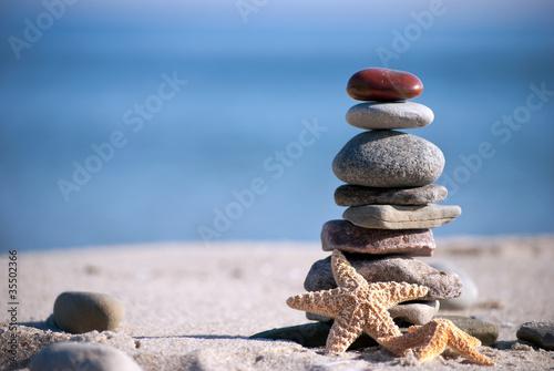 Plissee mit Motiv - Steinstapel mit Seestern